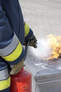 fire trainingwith a fire extinguisher photograph