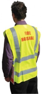 fire warden waist coat at work