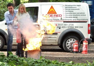 fire training with fire extinguisher